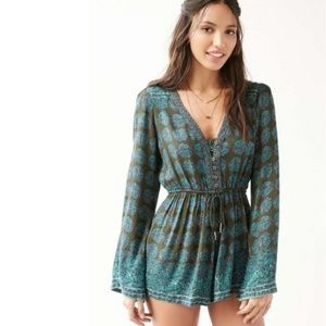 Urban Outfitters Ecote Helena Button-Down Romper